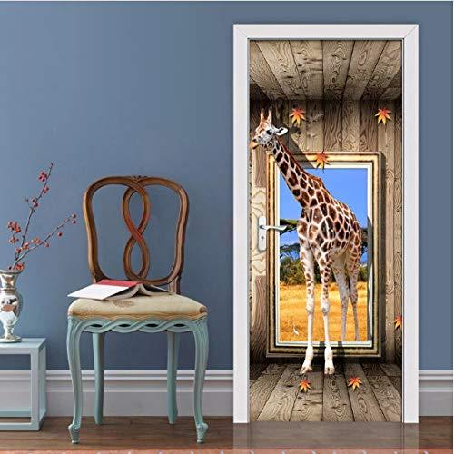JUZHIJIA Door Stickers 3D Giraffe Animal Poster Living Room Bedroom Door Sticker Waterproof Art Wall Decals Wall Sticker Mural Wallpaper