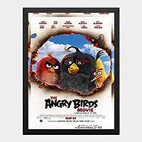 ハンギングペインティング - アングリーバード ANGRY BIR 1のポスター 黒フォトフレーム、ファッション絵画、壁飾り、家族壁画装飾 サイズ:33x24cm(額縁を送る)