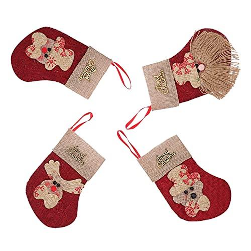 Housoutil 4 Piezas Mini Medias de Navidad 3D Medias de Navidad Soportes de Plata Medias de Navidad Bolsas de Regalo Y Regalo Calcetines Colgantes de Navidad para Árbol de Navidad Decoración