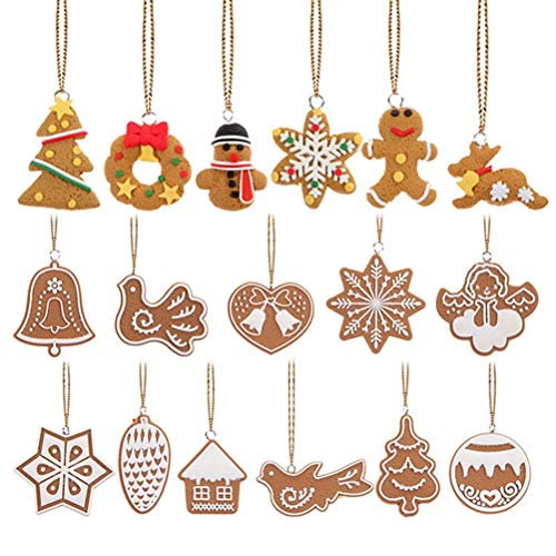 Shanke 17 Piezas Copo de Nieve Colgantes Navidad Adornos árbol de Fiesta decoración de Navidad-Merry Xmas