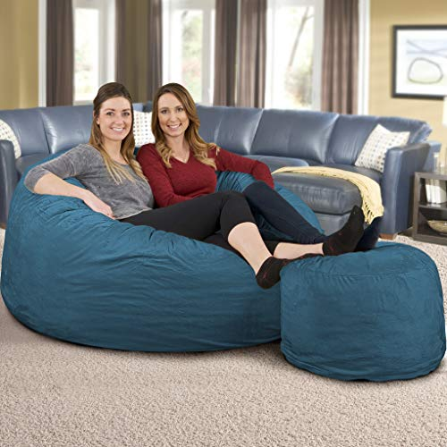 ULTIMATE SACK Bean Bag Chair w/Foot Stool in Multiple Sizes and Colors: Giant Foam-Filled Furniture - Machine Washable Covers, Double Stitched Seams, Durable Inner Liner. (Cloud Suede, 5000)