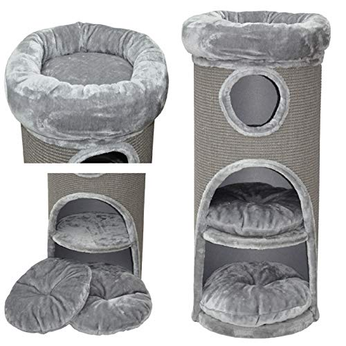 nanook Katzen Kratztonne grau - 100 x 40 cm - standfest - mit Katzenbett, Plüschrand und Katzenhöhle
