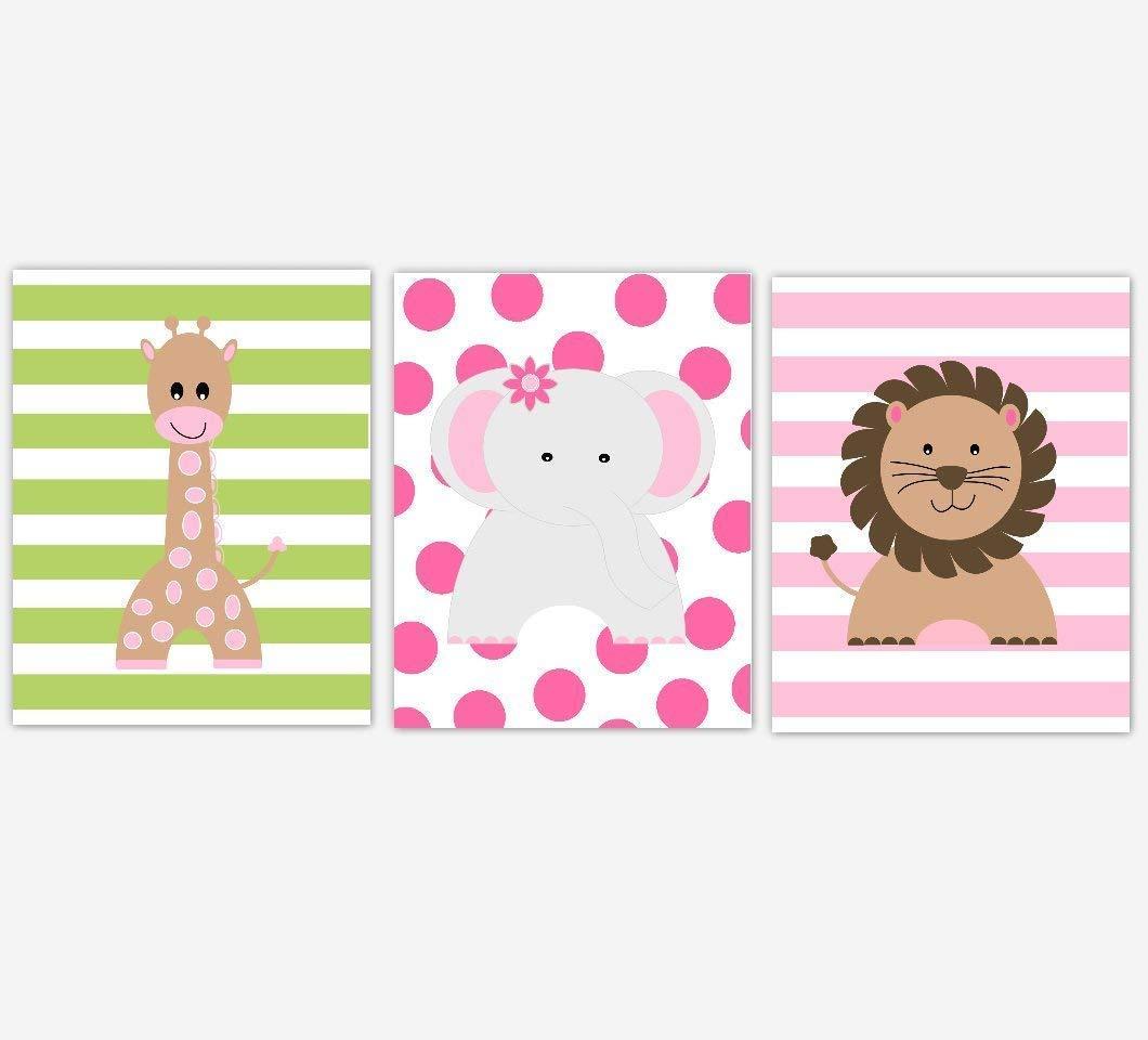 Baby Girl Nursery Decor Pink Giraffe Safari Elephant Green Cheap mail order specialty store New York Mall Lion