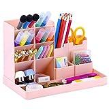 POPRUN Portapenne per scrivania, multifunzionaleorganizer da Scrivania, Organizzatore di trucco per ufficio, scuola, casa Rosa