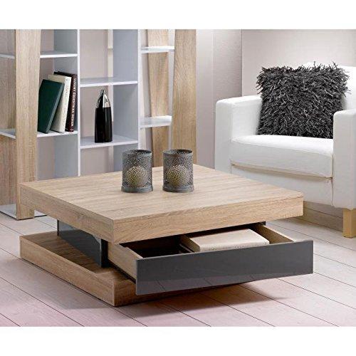 Fixy Table Basse Carrée Contemporaine avec Tiroir Chêne et Gris 80 x 80 x 35,5 cm
