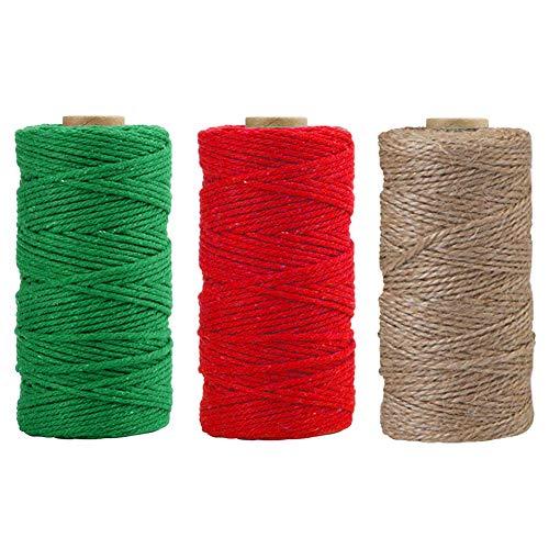 Spago di iuta,3 rotoli di corda di juta colorata naturale di Natale per opere d'arte Articoli artigianali fai-da-te Spago da regalo,Corda Spago da giardino per decorazioni,109,4yd per ogni colore