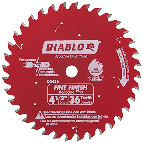 Freud D0436X Diablo 4-3/8-Inch 36 Tooth ATB Cordless Trim Saw Blade with...