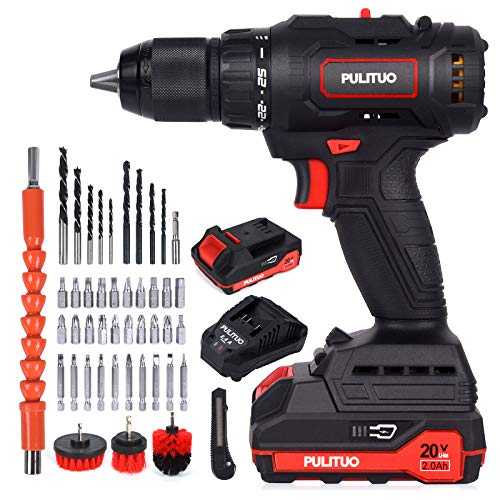 Cordless Drill Driver with 2 Batteries,PULITUO 20V Brushless Electric Drill, Power Drill (60N·m, 25+1 Torque Setting,/2000mAh/2 Variable Speed 10mm Automatic Chuck) for Home Improvement & DIY Project