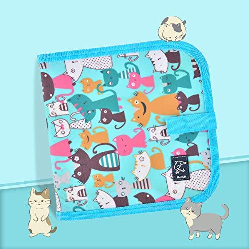 Miavogo Malbuch mit 12 Buntstifte für Kinder, Zeichenbrett abwischbar wiederverwendbar tragbar - 14 Seiten (Katze)
