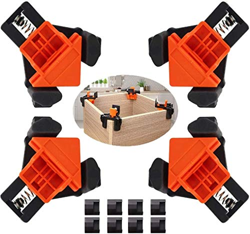 Corner Clamp, Hermard Corner Clamps for Woodworking Set of 4, 90 Degree Right Angle Clamp with Adjustable Swing Corner, Corner Clip Fixer for Carpenter, Cabinet, Picture Frame, Craft Project