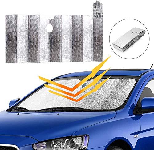 AidSci Auto Sonnenschutz für Frontscheibe, Sonnenschutz Abdeckung für Sonne Faltbare Einfache Lagerung, Aluminiumfolie Windschutzscheibe Sonnenblende 130 * 70 cm für Mittelklassewagen
