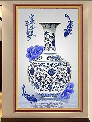 Diamond Painting kit Punto de Cruz Artes 5D DIY pintura diamante rhinestone bordado Porcelana azul y blanca para adultos taladro completo kit Decoración de la pared del Hogar Diamante cuadrado 30x40cm