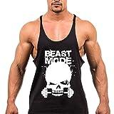 Chen Mens Skull Print Stringer Bodybuilding Gym Tank Tops Workout Fitness Vest (US L, Black1)