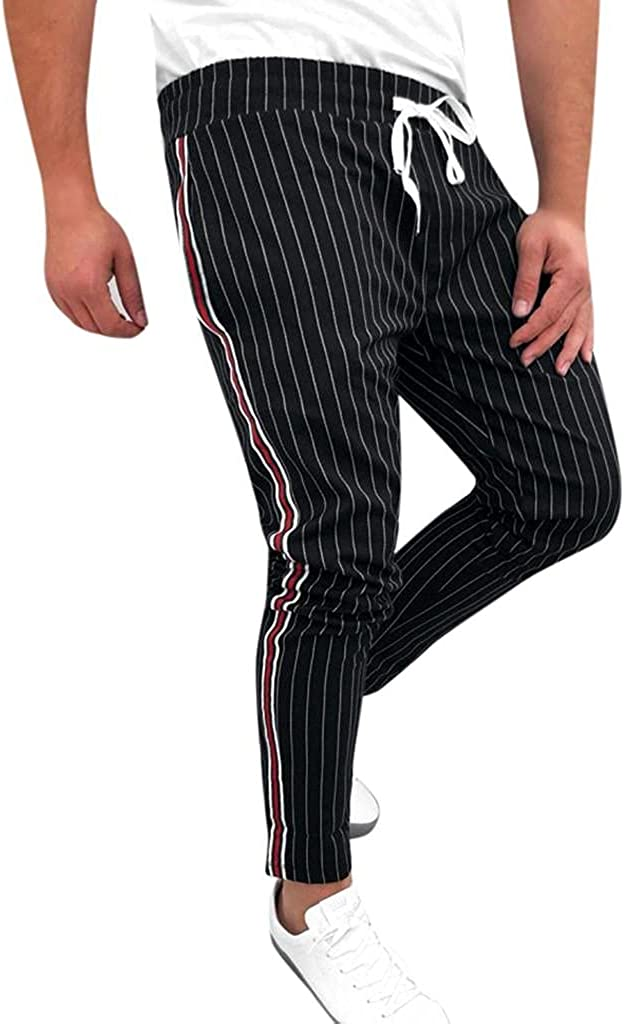 Beshion Mens Joggers Pants Slim fit Elastic Waist Sweatpants Striped Patchwork Casual Drawstring Trouser with Pocket