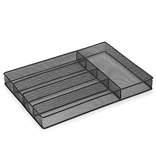 Leeofty 5-Fächer Mesh Metal Besteck Besteck Tray Organizer Gabeln Löffel Messer Utensil Ablagekorb Halter Desktop Organizer - Schwarz