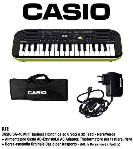 Casio SA-46 - Mini Tastiera polifonica 8 Voci e 32 tasti Nera/Verde + Borsa Custodia per Trasporto (non imbottita) Originale Casio + Casio AD-E95100LG AC Adaptor, Alimentatore per tastiera, Nero