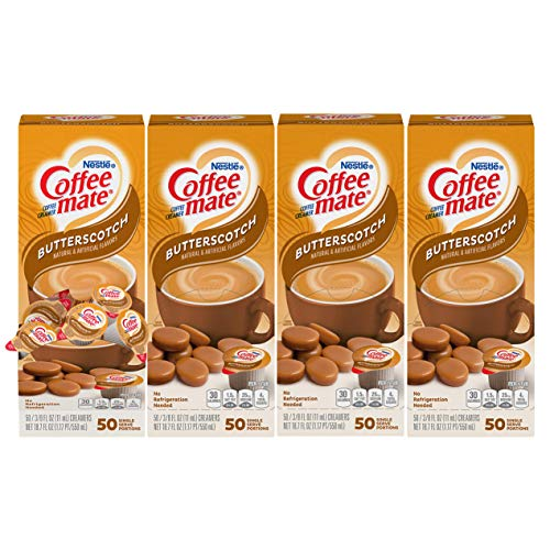 Nestle Coffee mate Coffee Creamer Liquid Creamer Singles, Butterscotch, 50 Count Box (Pack of 4)