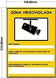Cartel Zona Videovigilada Nuevo Modelo Homologado A5 Interior/exterior, Cartel Disuasorio Pvc Flexible, Placa Videovigilancia 21x15 cm, Amarillo