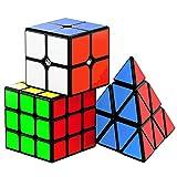Vdealen Speed Cube Set, Ensemble de Cubes Magiques Roxenda Magic Cube de 2x2x2, 3x3x3 Pyramides Lisses (2x2x 3x3 Pyramid)