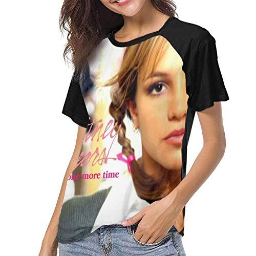 Bagew Damen T-Shirt Mit Rundhalsausschnitt, Britney Spears Baby One More Time Womens Short Sleeve Raglan Baseball Tshirt Black