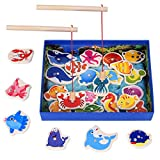 Magnetic Wooden Fishing Toy Set - Fishing Game Lets Go Fishing Toy Game 26Piece Fishes Basic Educational Development Wooden Magnetic Bath Fishing Travel Table Toy Halloween Christmas Birthday Gift