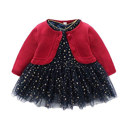QSEFT I Vestiti della Neonata dei Bambini Hanno Regolato Le Stelle Stampano Cappotto A Maniche Lunghe della Principessa delle Ragazze + Gonne della Maglia Vestiti del Partito 0-5 Anni
