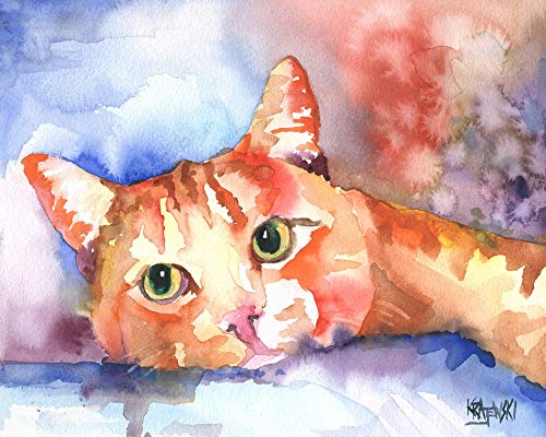 "Orange Tabby Cat Art Print | Orange Tabby Cat Gifts | From Original Watercolor Painting by Ron Krajewski | Hand Signed in 8x10"" and 11x14"" Sizes"