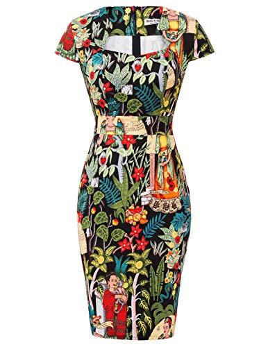 GRACE KARIN 50er Jahre Kleid Rockabilly Kleid Bleistiftkleid Vintage Etuikleid Casual Kleid L CL7597-35