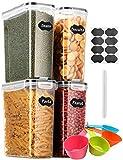 Aitsite 4L Vorratsdosen Set, Müslidosen Aufbewahrungsbox Frischhaltedosen, Küche Luftdicht Behälter BPA frei Kunststoff Vorratsdosen, Set mit 4 + 8 Etiketten für Getreide, Mehl, Zucker