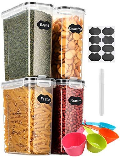 Aitsite Recipientes para Cereales Juego de 4 (4L) Botes Cocina Tarro de Almacenamiento Plasico con Tapa Hermética Sin BPA para Almacenar Cereales, Pasta, Arroz, Harina, Etc