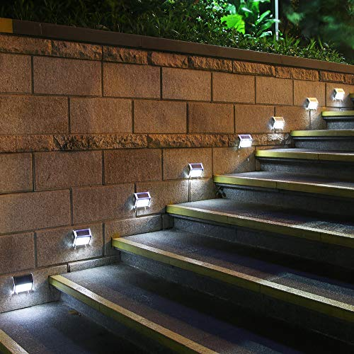 GVSHINE 8 Pack 3 LED Solar Bright Step Light Stairs Pathway Deck Garden Lamps Stainless Steel Wall Yard Outdoor Fence Illuminates Patio Lamps Lighting Waterproof Solar Power Light