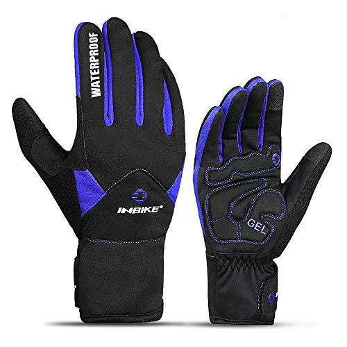 Inbike Fahrradhandschuhe Winter Thermo Gepolsterte Handfläche Radsport Gel Handschuhe Windddichte(Blau,L) - 9
