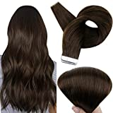 Full Shine Tape in Real Human Hair 16 Inch Dark Brown Color Seamless Extensions Skin Weft Double Sided Tape Hair Extensions 20 Pieces 50 Gram Per Package