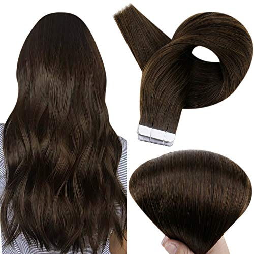 Full Shine Hair Extensions Tape ins 20 Inch Remy Human Hair Skin Weft Seamless Pu Human Hair Extensions 20 pcs 50gram Thick End Straight Hair Tape in Hair Extensions