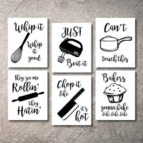 Home Decor Funny Gift 6 Kitchen Wall Art Prints Kitchenware with Sayings Unframed Farmhouse Home Office organization Signs Bar Accessories Decorations sets white house Deco Kitchen Decor (5X7W)