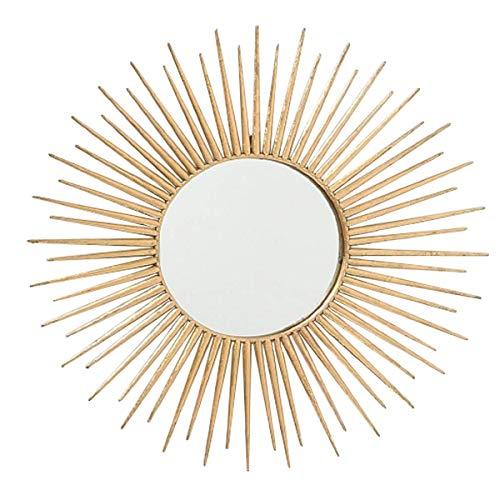 CasaJame Hogar Muebles Decoración Espejo de Pared en Forma de Sol Estilo Étnico Moderno Hierro Dorado Ø 75 cm