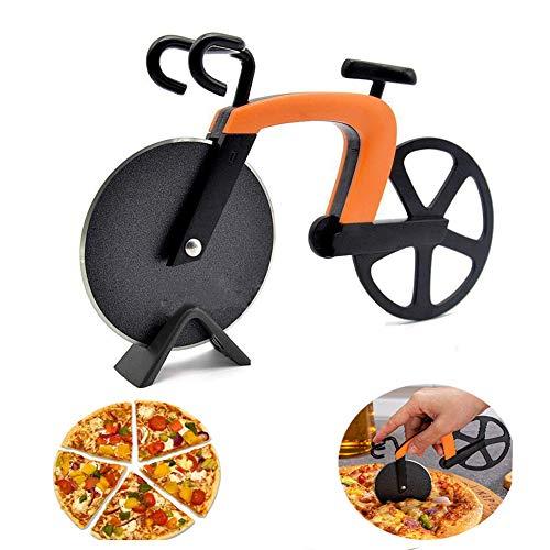 KKSJK Fahrrad Pizzaschneider, Essen Grade Pizza Cutter Roller, Antihaftbeschichteter Edelstahl Doppel Pizza Schneider mit Ständer für Party, Geschenke küche usw