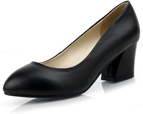 HGDR Femmes Les Les dames Noir Mi-Talon Chaussures Escarpins Escarpins Pour Le Parti Travail Soirée Fête De Mariage De Bal
