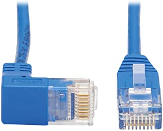 Tripp Lite Down Angle Cat6 Ethernet Cable, Gigabit Molded Slim UTP Network Patch Cable, Blue, 3 ft. (N204-S03-BL-DN)