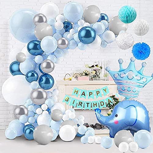 Globos Decoracion Cumpleaños Azul - Fiesta Decoracion Niño Globos Azules Blancos Plata con Globos de Elefante Azul y Pancarta Feliz Cumpleaños para Baby Shower, Cumpleaños de Niño Niña