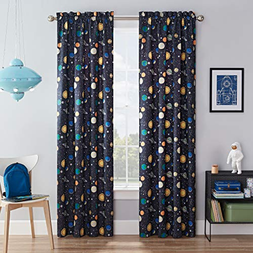 """WAVERLY Kids Room Darkening Curtains for Bedroom - Space Adventure 42"""" x 84"""" Thermal Insulated Single Panel Rod Pocket Light Blocking Privacy Curtains for Nursery, Navy"""
