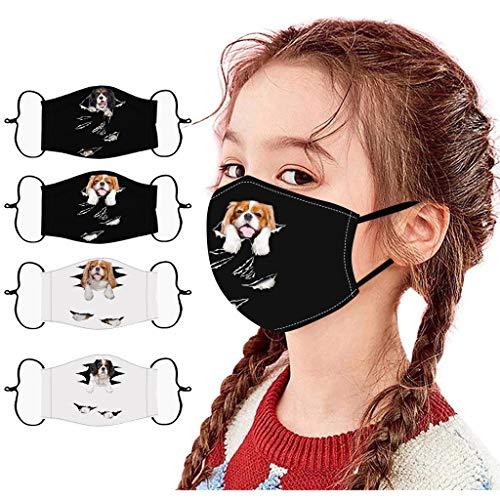 4 Stück Kinder Outdoor Baumwolle Mundmasken Staubdichte Gesichtsmasken Wiederverwendbar Mundschutz Multifunktionstuch 3D Cartoon Bedruckte Bandana für Jungen und Mädchen