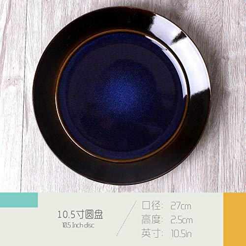 LILICEN Inicio Plato Placa Europea Creativa Patrón de cerámica Vajilla Placa del Filete de la Personalidad de Las pastas Placa Placa Plana Placa del Desayuno en Color de 8 Pulgadas