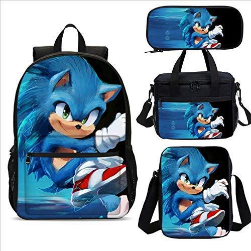ZFFSC TV de Calidad HD Sonic Meal Pack Set 4pcs Anime Figure Mochila Escolar de los niños Sonic The Hedgehog Kids School Bags Dibujos Animados diseño TV de Calidad HD