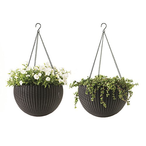 Keter Resin Rattan Set of 2 Round Hanging Planter Baskets for Indoor and Outdoor Plants-Perfect for Porches and Patio Decor, Espresso Brown