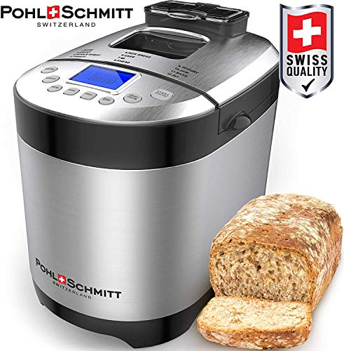 Find Discount Pohl Schmitt Stainless Steel Bread Machine, 2LB 17-in-1 with Fruit Nut Dispenser, Nons...