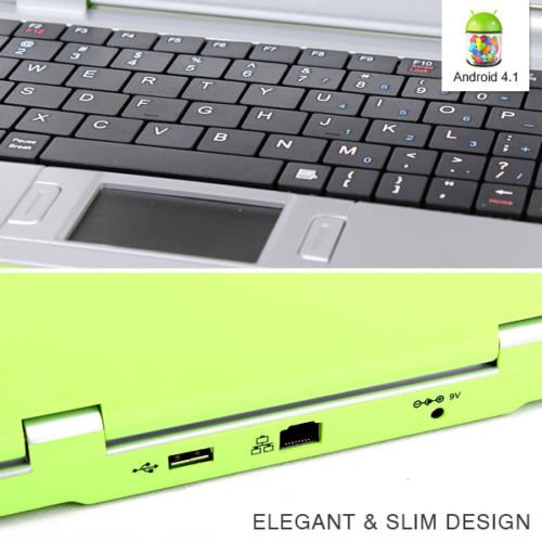 Goldengulf 7-Inch Computer Laptop for Children (4.1 Jelly Bean Mini Android) - Green
