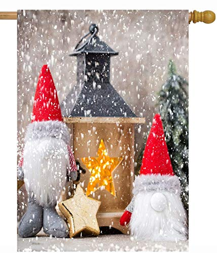 Two Christmas Gnome with Santa Hat and Fir in Seasonal Snowy Winter House Flag 12 x 18 Inch Double Sided Polyester Welcome Large Yard Garden Flag Banners for Patio Lawn Home Outdoor Decor