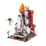 WWEI Juego de construcción de cohete espacial de Technik City City con centro de control, 807 piezas, lanzador de misiles, juguetes con bloques de sujeción, compatible con Lego 60228