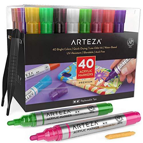 Arteza Rotuladores de pintura acrílica | Juego de 40 colores surtidos | Puntas reemplazables | Rotuladores para pintar sobre piedra, vidrio, madera y plástico